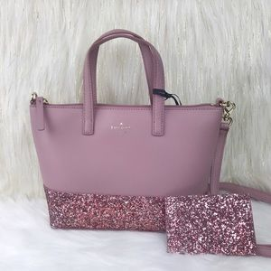 Kate Spade Glitter Ina Greta Satchel Wallet Set